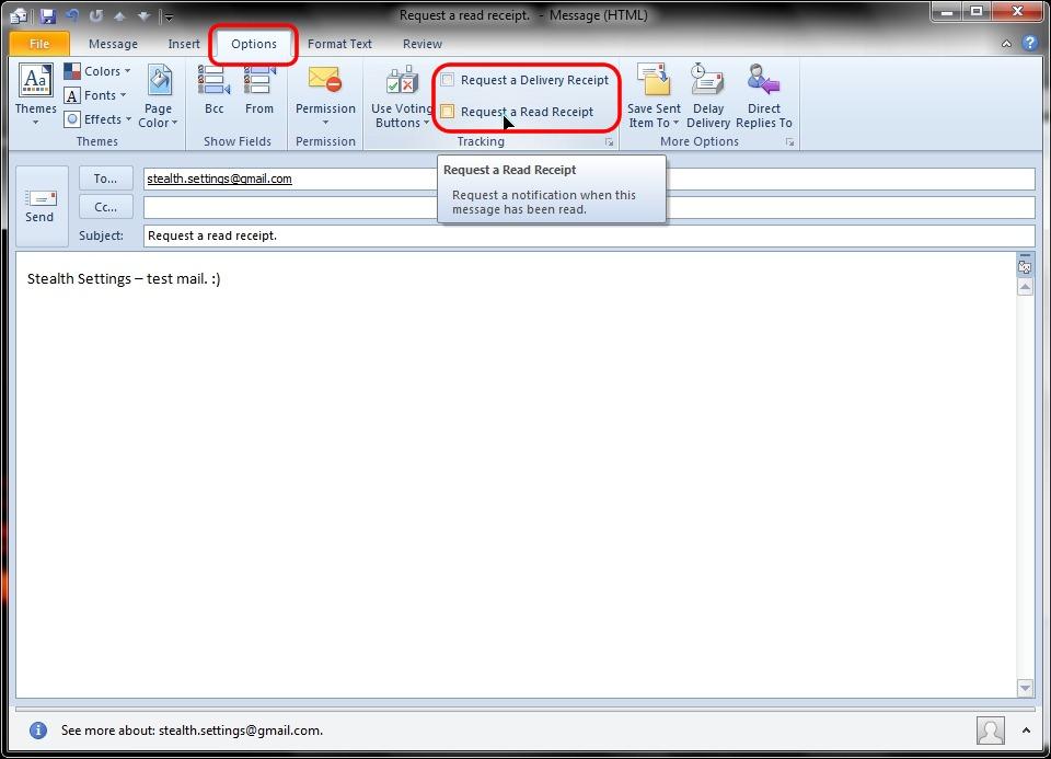 電子メールの配信を要求し、読み