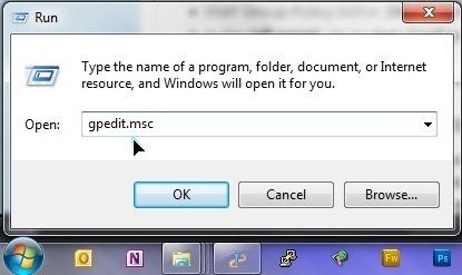 boîte de dialogue Exécuter de Windows 7