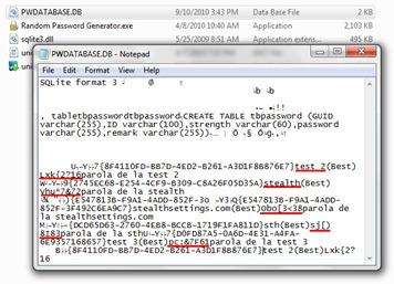 SQLite lozinke
