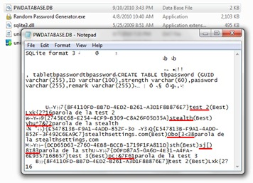 SQLite Passwords