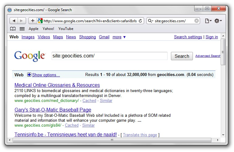 Yahoo Geocities Close