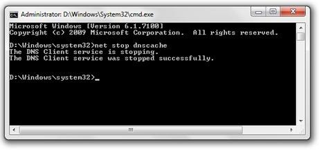 DNSキャッシュを停止