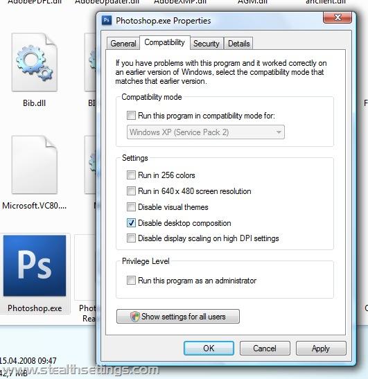 Désactiver Vista Aero pour Adobe Photoshop CS3