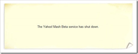Yahoo Mash Beta Closed - Shutdown