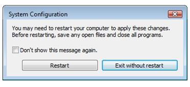 configuration system restart