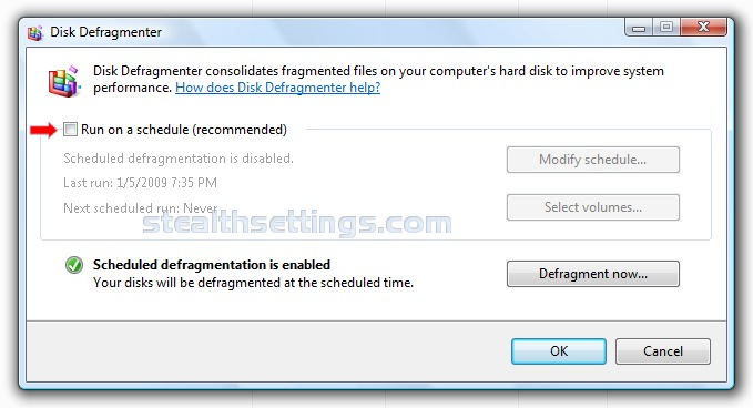 windows vista disk defragmenter not working