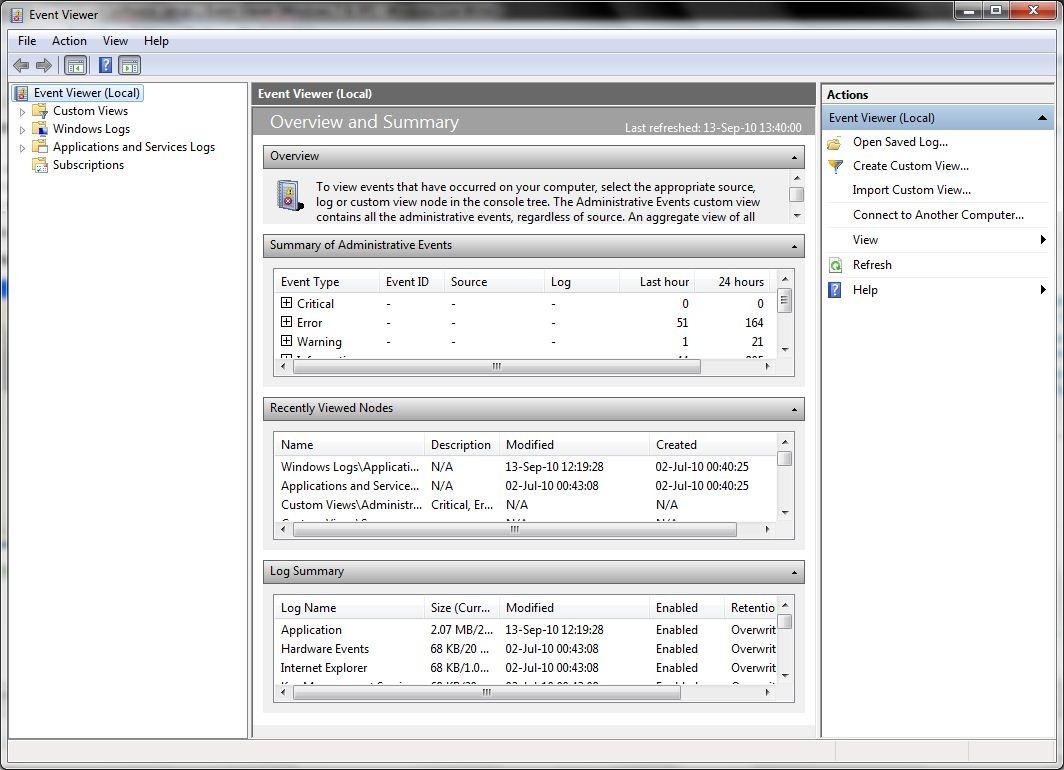 un événement-system-téléspectateur-windows-7