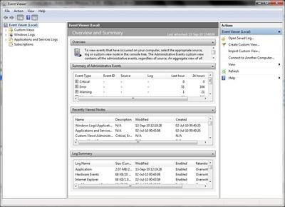 מציג האירועים של Windows מערכת-7