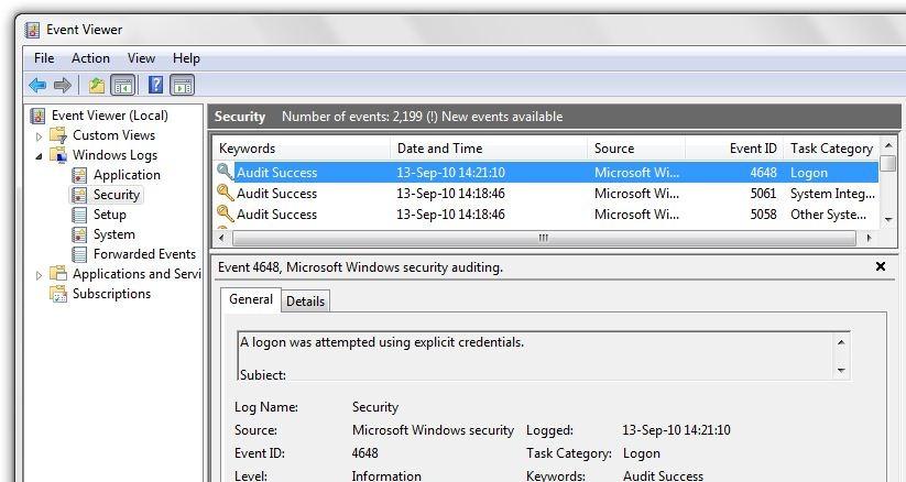 windows event logs