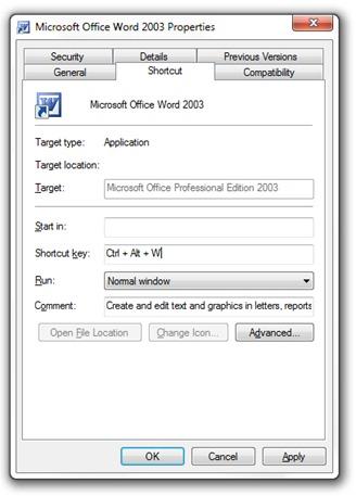ms shortcut key