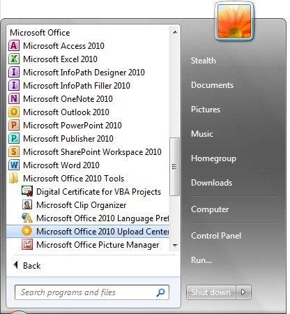 微軟Office 2010  - 開始菜單