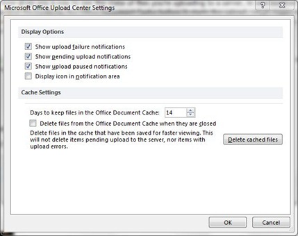 office center upload settings