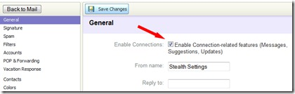 inaktivera budbärare i Yahoo mail klassiska