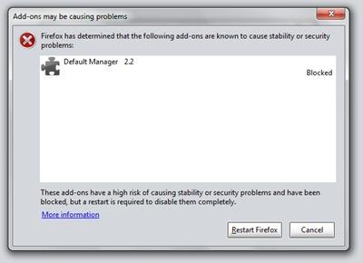 Firefox Διευθυντής Προεπιλογή