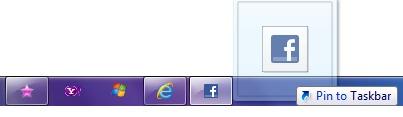 تثبيت صفحة الويب إلى taskbar
