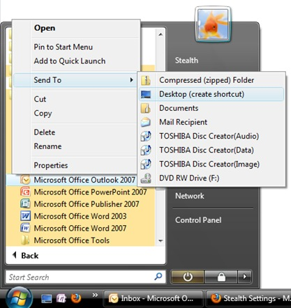 microsoft office outlook shortcut