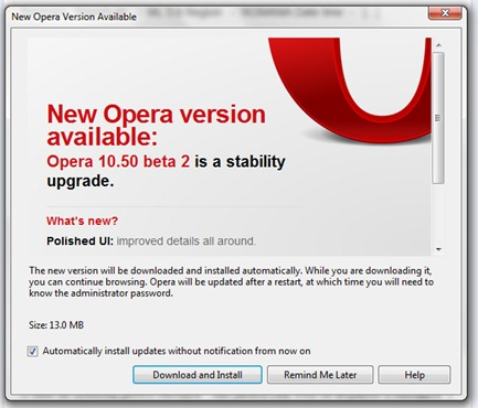 Opera Beta 10.50 2