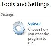 Tools and Settings - Option