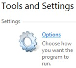 Tools and Settings - Option