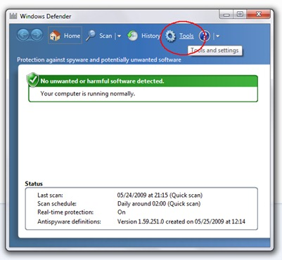 Windows Defender Outils