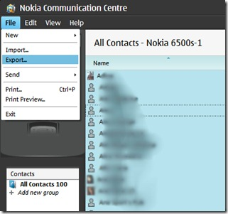 contacts nokia exportation
