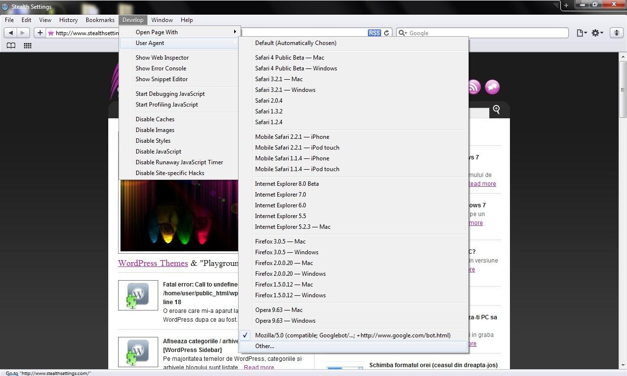 Safari瀏覽器的用戶代理