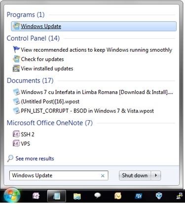 Otwórz usługę Windows Update Center 7