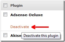 deaktivovat AdSense deluxe plugin
