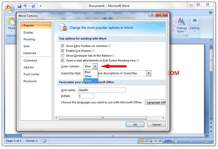 Change Skins (Color Scheme) in Microsoft Office 2007