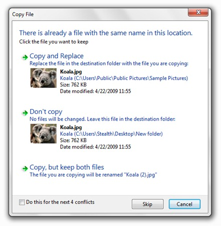 copy files in Windows 7