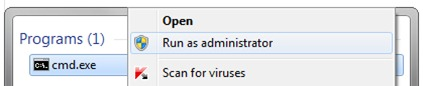 cmd run as administrator