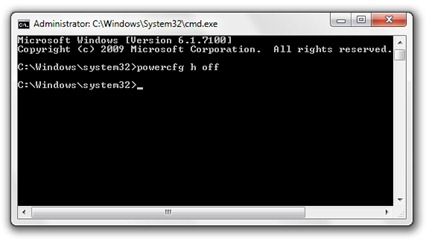 powercfg - disable hibernation mode windows 7