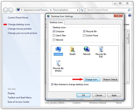डेस्कटॉप चिह्न Windows बदल 7