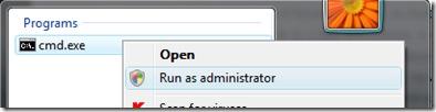 cmd als administrator uitvoeren