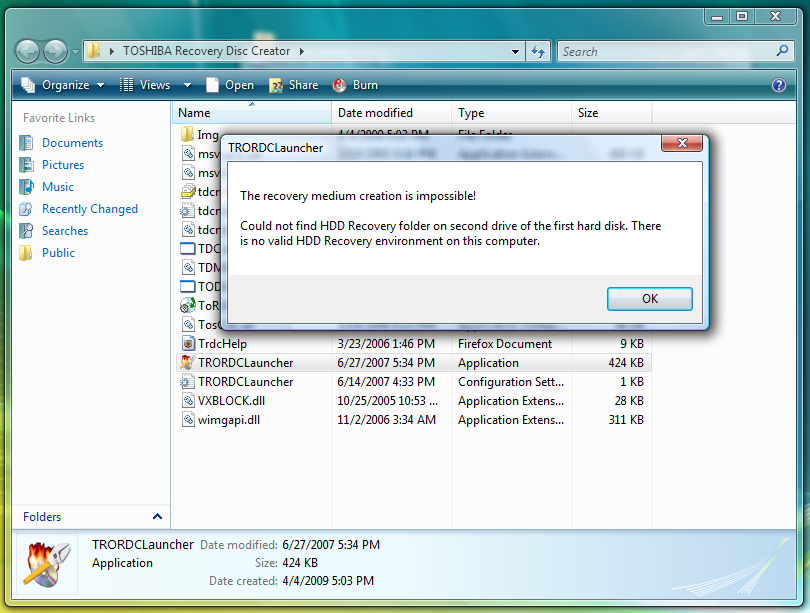 Download: TOSHIBA Recovery Disc Creator [Vista Pre-Installed