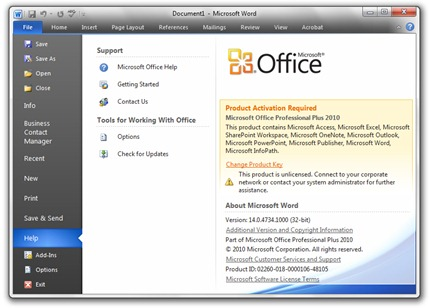 ms office product key change 2010
