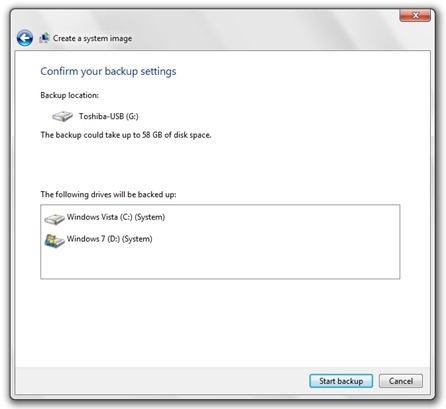 alustada backup Vista - Windows 7