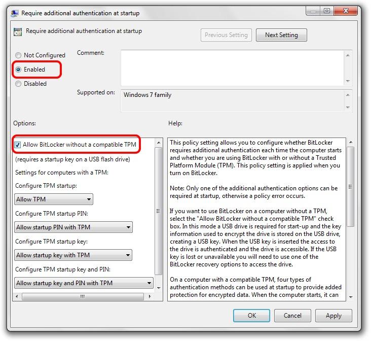 BitLocker на компьютере без TPM