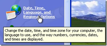 Regional Options - Windows XP