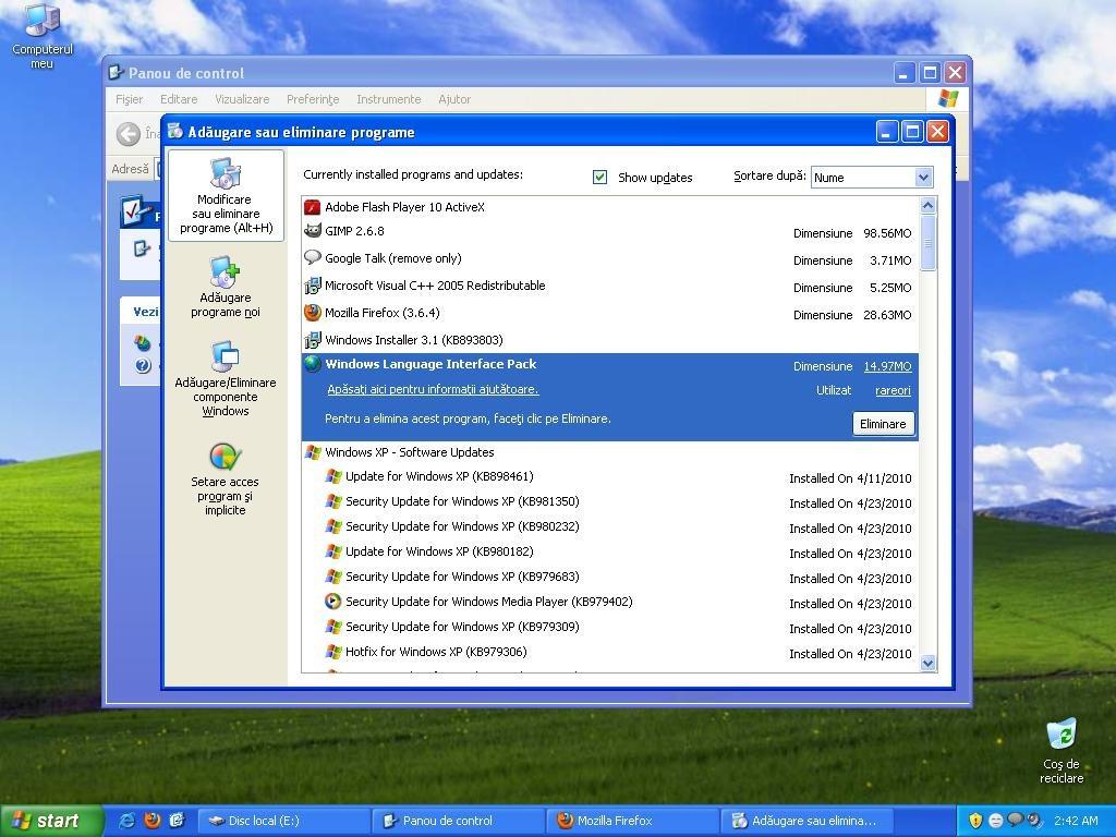 Uninstall the Romanian Language Interface on Windows XP
