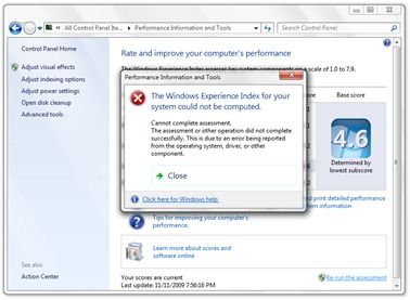 Erro Índice de Experiência do Windows