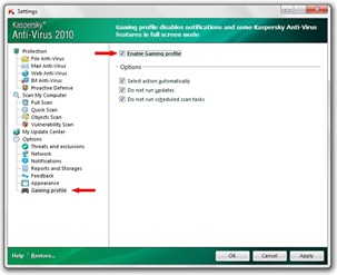 Gaming Profile - Kaspersky Anti-Virus