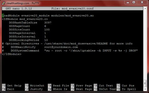 putty ssh conf pico mod_evasive
