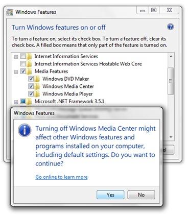 uninstall Windows Meedium center