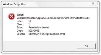 שגיאת סקריפט מארח של Windows