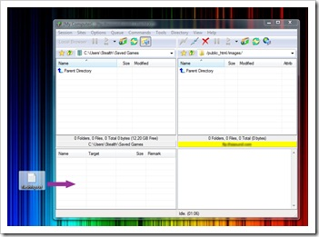 FlashFXP sürükle-bırak dosya