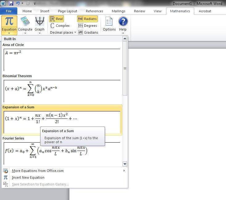 Comment ins rer des formules math matiques et des for Dans word