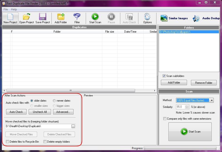 дупликат скенирања files