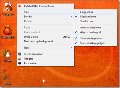 Desktop Ikooni suurus