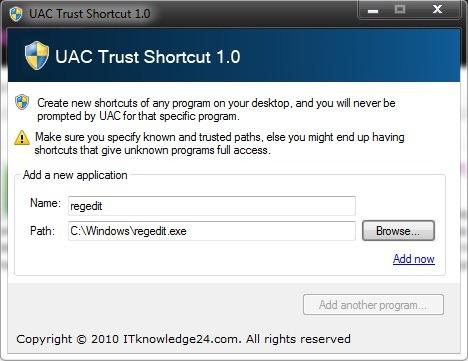 UAC confiance raccourci
